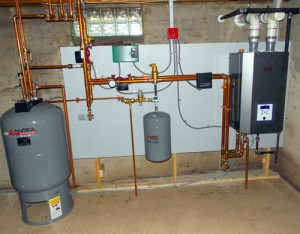 A new installation of a NTI system, with an Amtrol hot Water tank.